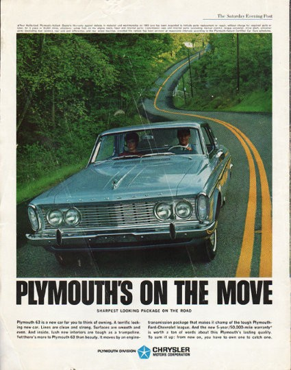 1963 Plymouth Vintage Ad Quot On The Move Quot Model Year 1963