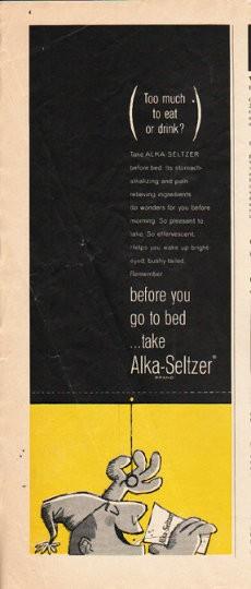 1963 alkaseltzer vintage ad quotbefore you go to bedquot