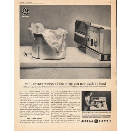 1963 General Electric Washing Machine Ad Mini Basket