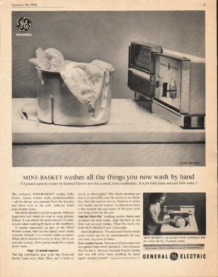 1963 General Electric Washing Machine Vintage Ad Quot Mini Basket Quot