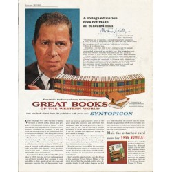 "1963 Great Books of the Western World Ad ""college education"""