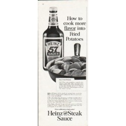 "1963 Heinz Steak Sauce Ad ""cook more flavor"""