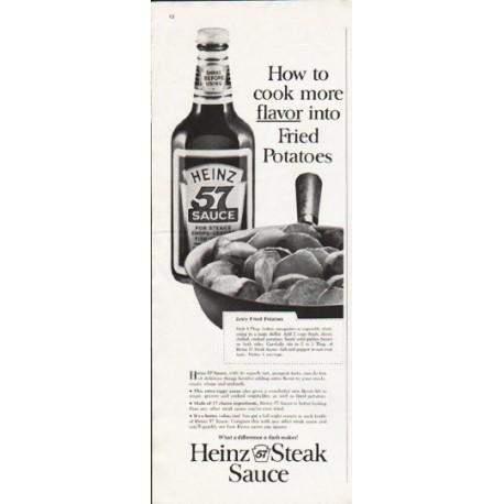 """1963 Heinz Steak Sauce Ad """"cook more flavor"""""""