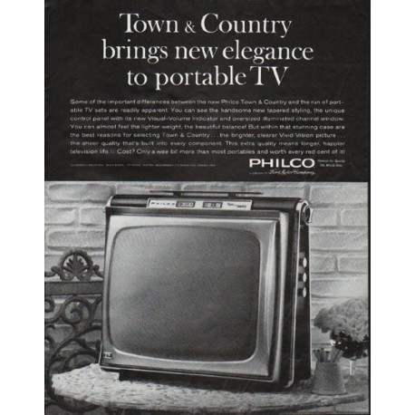 """1963 Philco Television Ad """"Town & Country"""""""