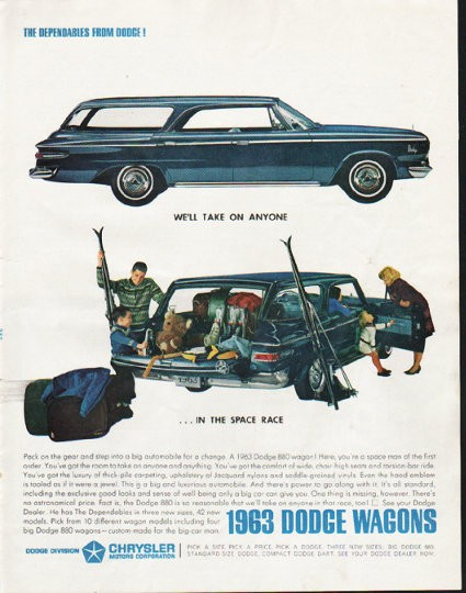 "1963 Dodge Wagons Vintage Ad ""take on anyone"""