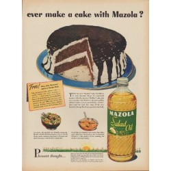 "1949 Mazola Ad ""ever make a cake with Mazola?"""