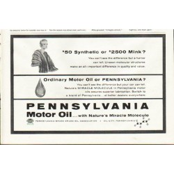 "1961 Pennsylvania Motor Oil Ad ""Synthetic"""