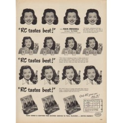 "1949 Royal Crown Cola Ad ""RC tastes best!"""
