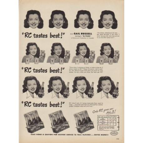 """1949 Royal Crown Cola Ad """"RC tastes best!"""""""