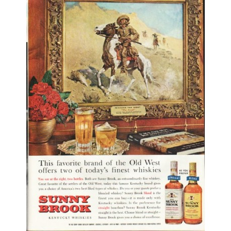 """1961 Sunny Brook Whiskey Ad """"Old West"""""""