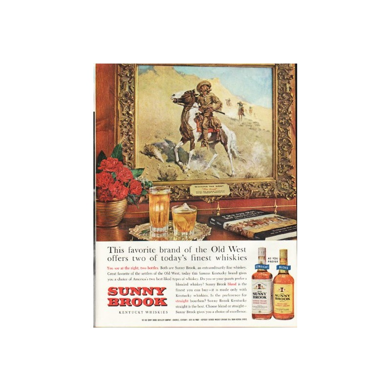 1961 Sunny Brook Whiskey Vintage Ad Quot Old West Quot