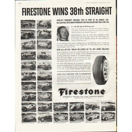 """1961 Firestone Tires Ad """"race at Indianapolis"""""""