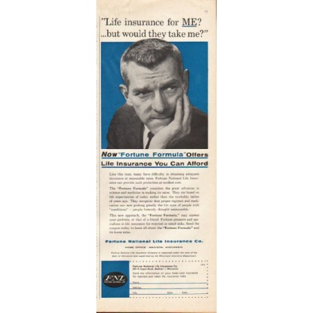 """1961 Fortune National Life Insurance Ad """"Fortune Formula"""""""