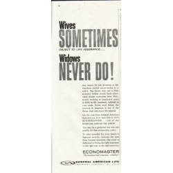 "1961 General American Life Insurance Ad ""Wives sometimes object"""