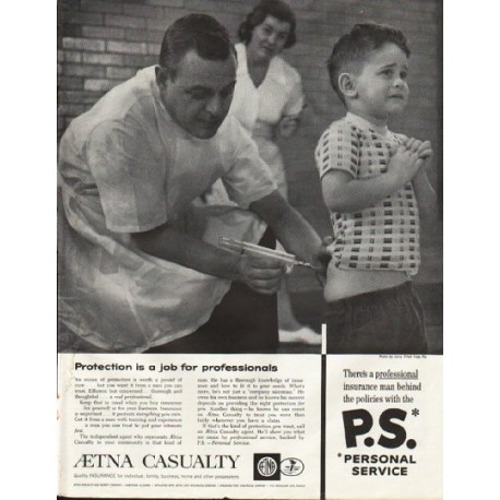 "1961 Aetna Casualty Ad ""job for professionals"""