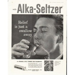 "1958 Alka-Seltzer Ad ""swallow away"""