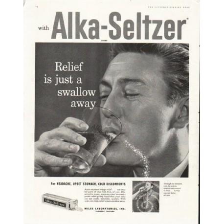 1958 Alka Seltzer Vintage Ad Quot Swallow Away Quot