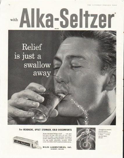 1958 Alka Seltzer Vintage Ad swallow away
