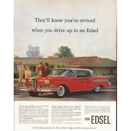 """1958 Edsel Ad """"you've arrived"""" ~ (model year 1958)"""