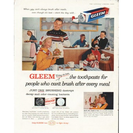 """1958 Gleem Toothpaste Ad """"Today as ever"""""""
