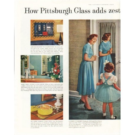 """1958 Pittsburgh Plate Glass Ad """"adds zest"""""""