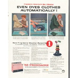 "1958 Frigidaire Washer Ad ""Dyes Clothes"""