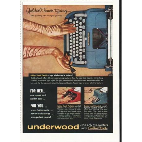 """1958 Underwood Typewriter Ad """"Golden-Touch typing"""""""