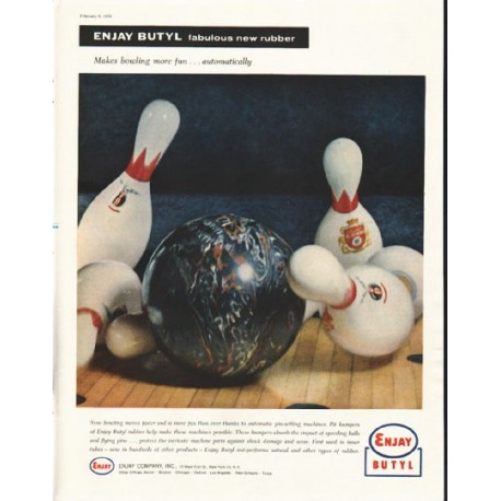 "1958 Enjay Butyl Ad ""bowling more fun"""