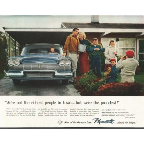 "1958 Plymouth Ad ""not the richest people"" ~ (model year 1958)"