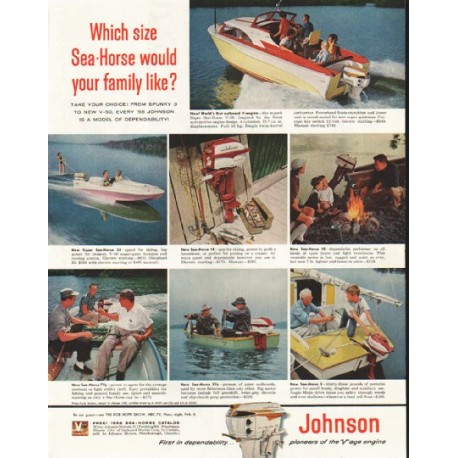 1958 Johnson Outboard Engine Vintage Ad Quot Which Size Quot