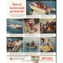 """1958 Johnson Outboard Engine Ad """"Which size"""""""
