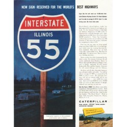 "1958 Caterpillar Ad ""World's Best Highways"""
