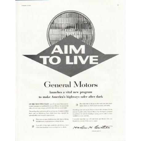 "1958 General Motors Ad ""Aim to Live"""