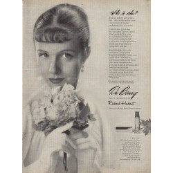"1949 DuBarry Lipstick Ad ""Who is she?"""
