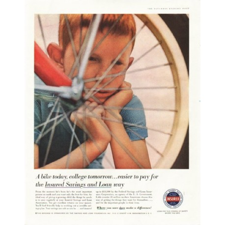 "1958 Savings and Loan Foundation Ad ""A bike today"""