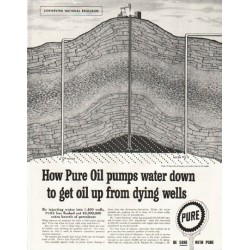"1958 Pure Oil Company Ad ""pumps water down"""
