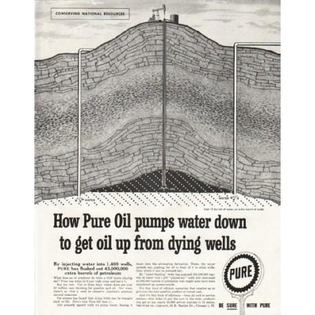 "1958 Pure Oil Company Ad ""pumps water down"""