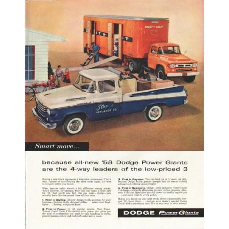 "1958 Dodge Trucks Ad ""all-new '58 Dodge Power Giants"" ~ (model year 1958)"