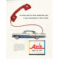 "1958 Avis Rent-a-Car Ad ""A local call"""