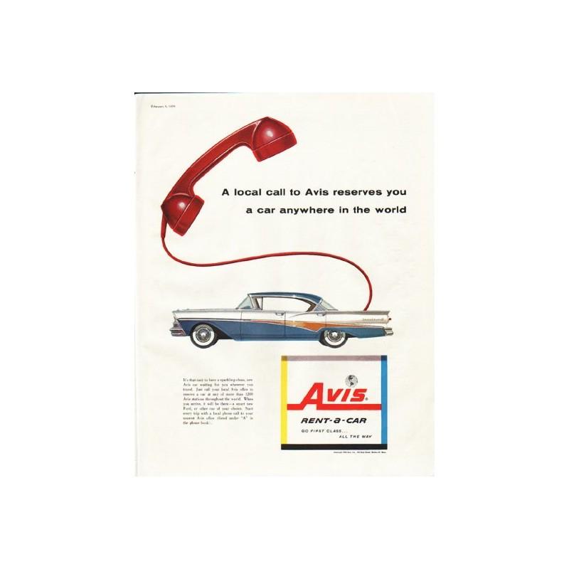 """Rent Local: 1958 Avis Rent-a-Car Vintage Ad """"A Local Call"""""""