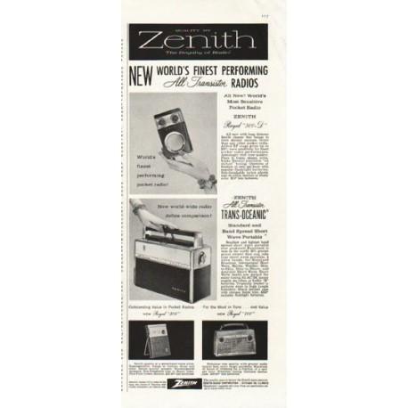 "1958 Zenith Ad ""All-Transistor Radios"""