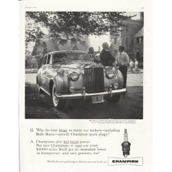 "1958 Champion Spark Plugs Ad ""Rolls Royce"""