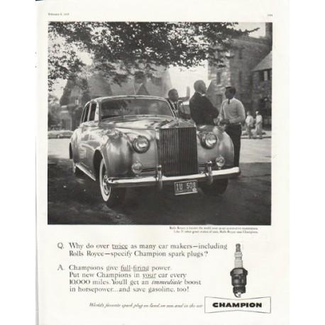 "1958 Champion Spark Plugs Ad ""Rolls Royce"""