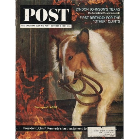 "1964 Saturday Evening Post Cover Page ""Lassie"" ~ October 3, 1964"