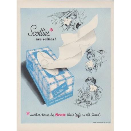 "1949 Scott Tissues Ad ""Scotties* are softies !"""
