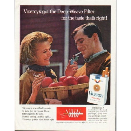 "1964 Viceroy Cigarettes Ad ""Deep-Weave Filter"""