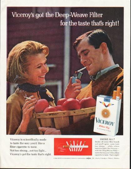 1964 Viceroy Cigarettes Vintage Ad Quot Deep Weave Filter Quot
