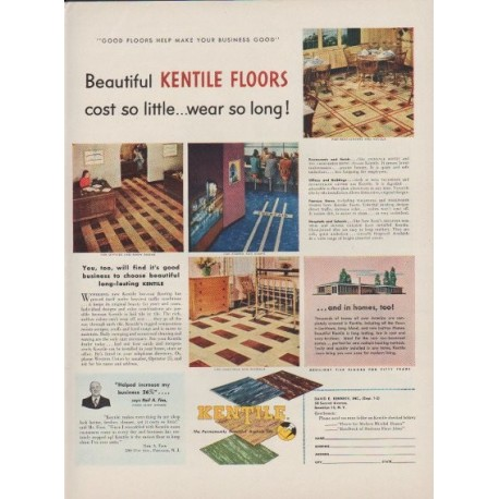 "1949 Kentile Floors Ad ""cost so little ... wear so long!"""