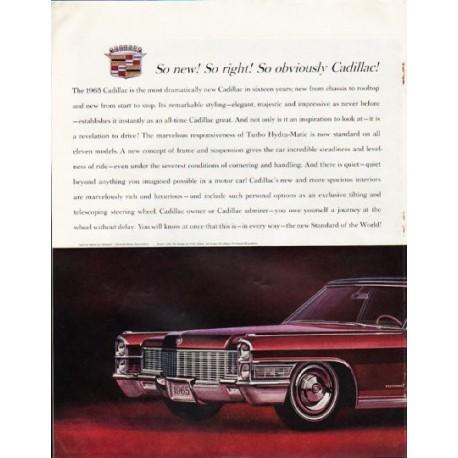 "1965 Cadillac Fleetwood Ad ""So new"" ~ (model year 1965)"