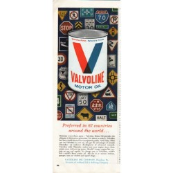 "1964 Valvoline Motor Oil Ad ""Preferred in 67 countries"""